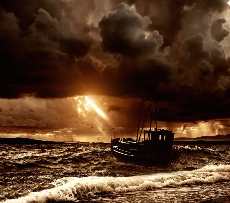 overturned crab boat